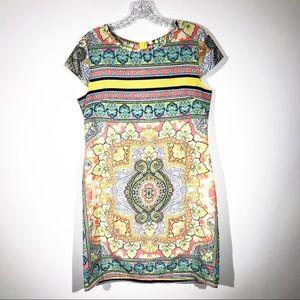 Dots Multicolor Patterned Sheath Dress Size Medium